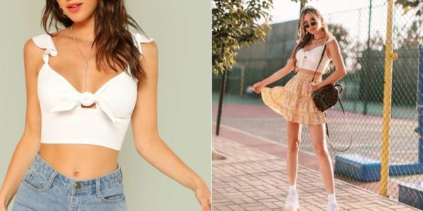 white knoted strap crop top Kerina